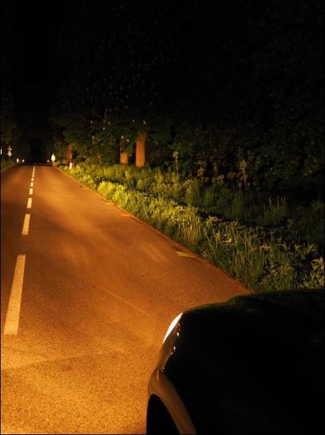 Pohled z auta - dálková světla