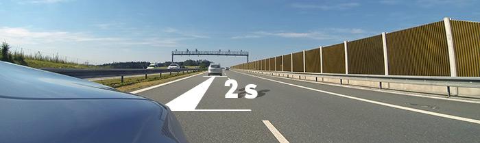Dodržení bezpečné vzdálenosti dvou sekund může zachránit život, zvlášť na dálnici
