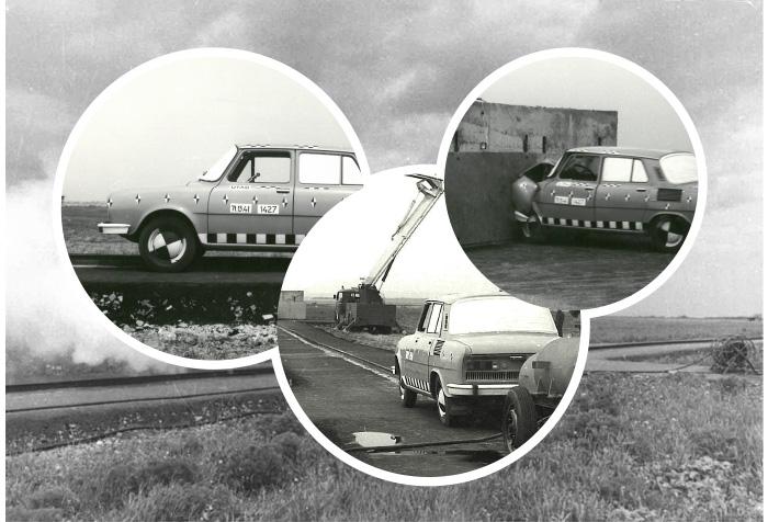 Crashová zkouška s vozem Škoda 100 (1972)