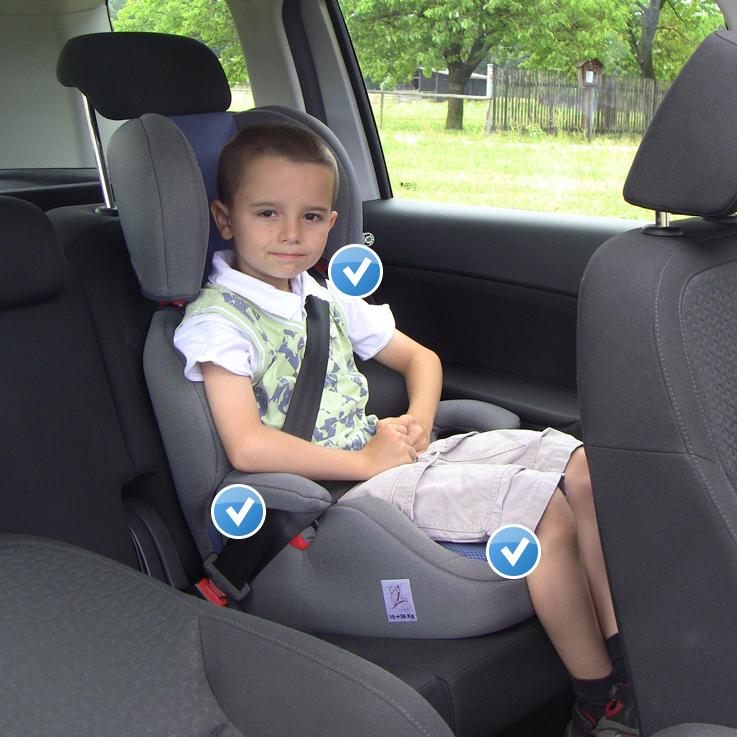 Správně: Správně připoutané dítě v autosedačce