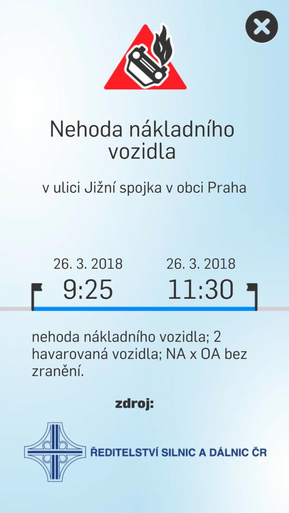 Dopravní info – mobilní aplikace - detail události