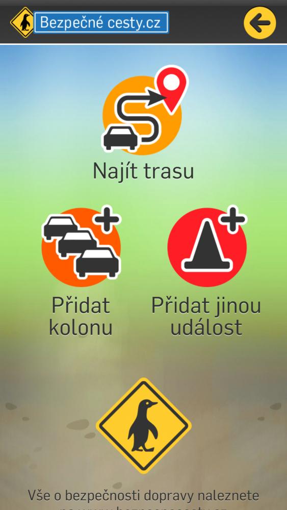Dopravní info – mobilní aplikace - menu