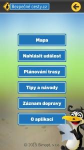 Doprava - mobilní aplikace - menu