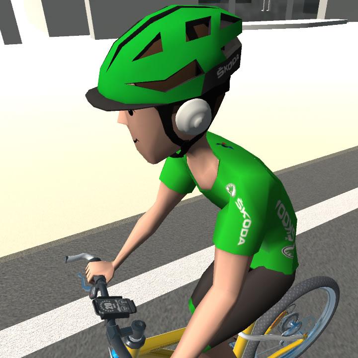 Cyklista, mobilní telefon a sluchátka