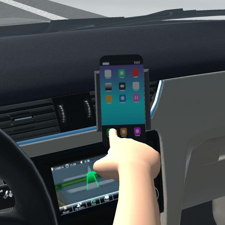 Řidič, mobilní telefon a rádio