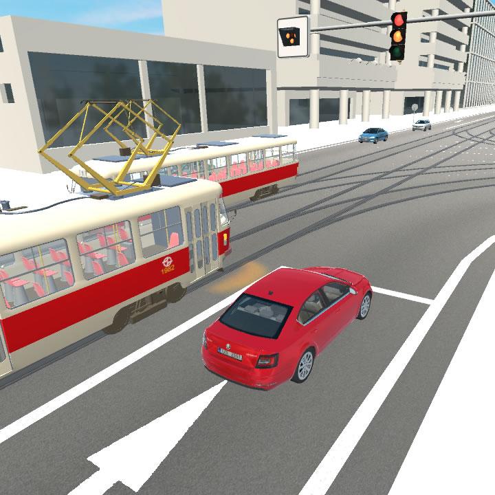Křižovatka s tramvají odbočující doprava