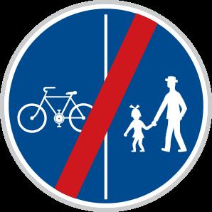 Konec oddělené stezky pro chodce a cyklisty