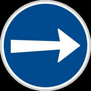 Přikázaný směr jízdy zde vpravo
