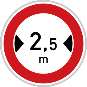 Zákaz vjezdu vozidel, jejichž šířka přesahuje vyznačenou mez
