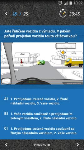 Autoškola - mobilní aplikace - testy