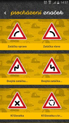 Autoškola - mobilní aplikace - značky