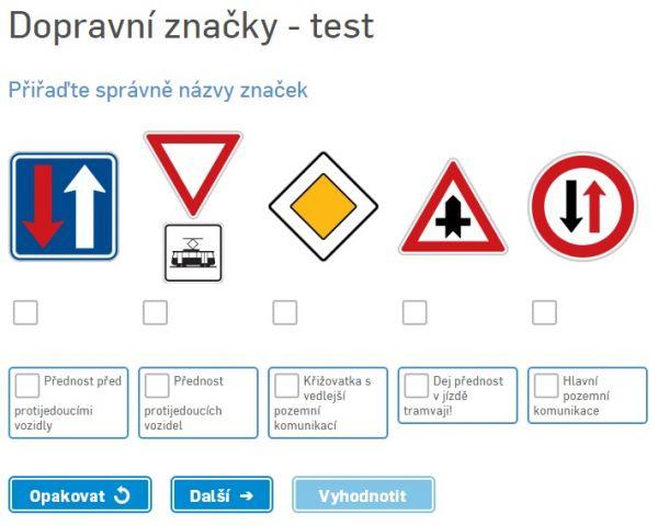 Autoškola - Test dopravních značek