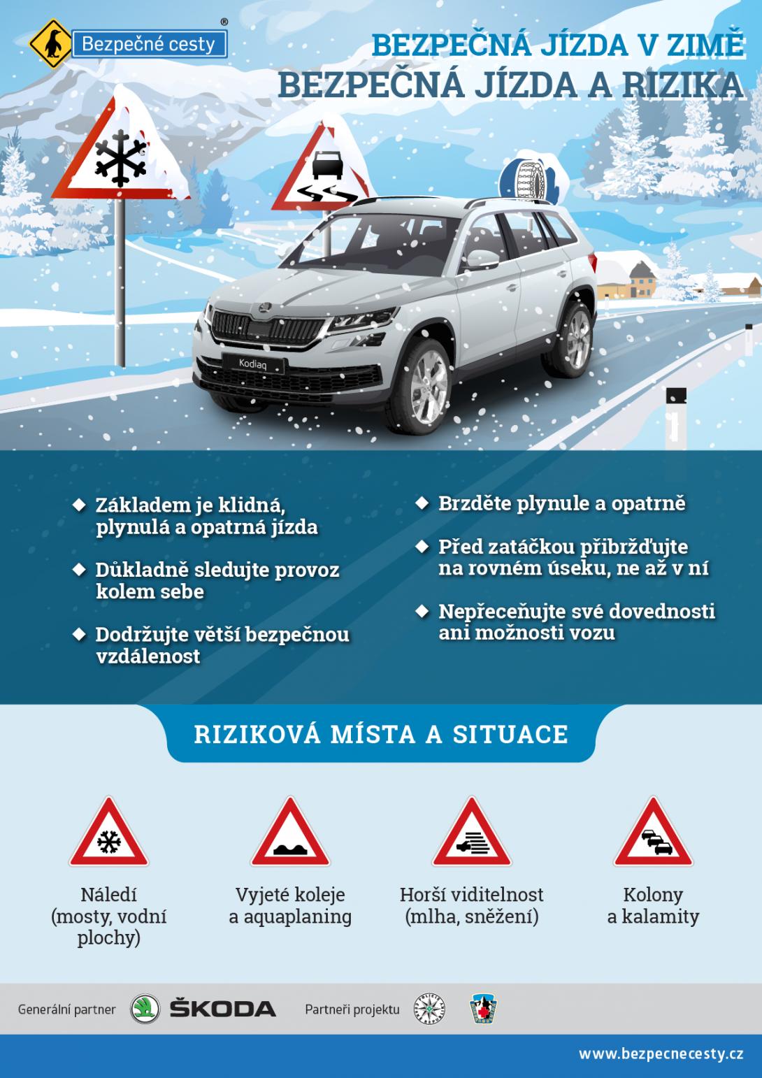 Bezpečná jízda v zimě a možná rizika