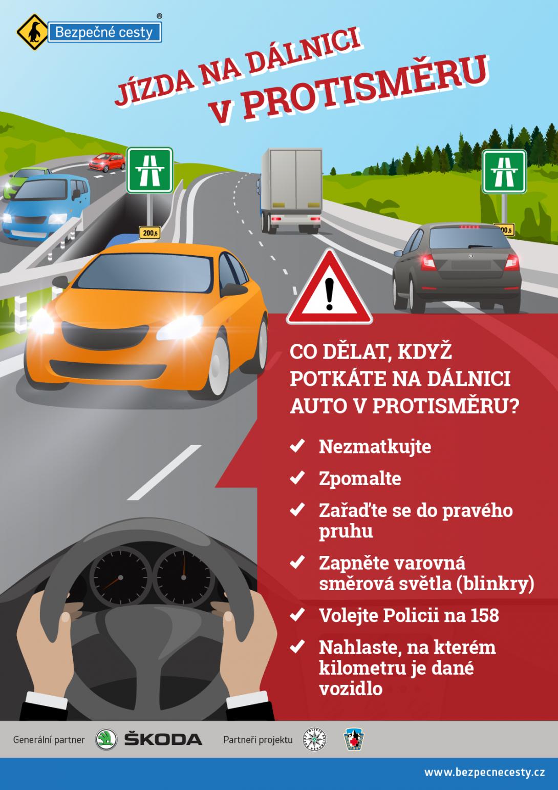 Jízda na dálnici v protisměru - infografika