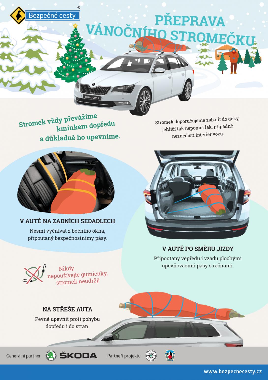 Přeprava vánočního stromečku - infografika