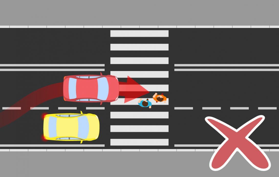 Nebezpečí při přecházení víceproudé silnice