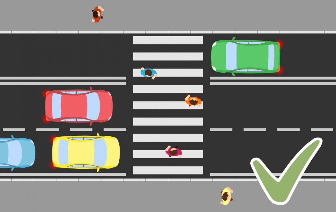 Bezpečné přecházení víceproudé silnice