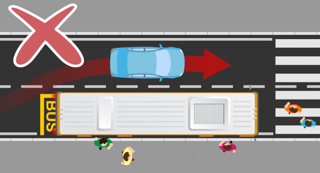 Nebezpečí při předjíždění autobusu v zastávce