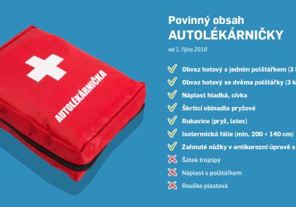 Lékárnička a povinná výbava auta od 1. 10. 2018
