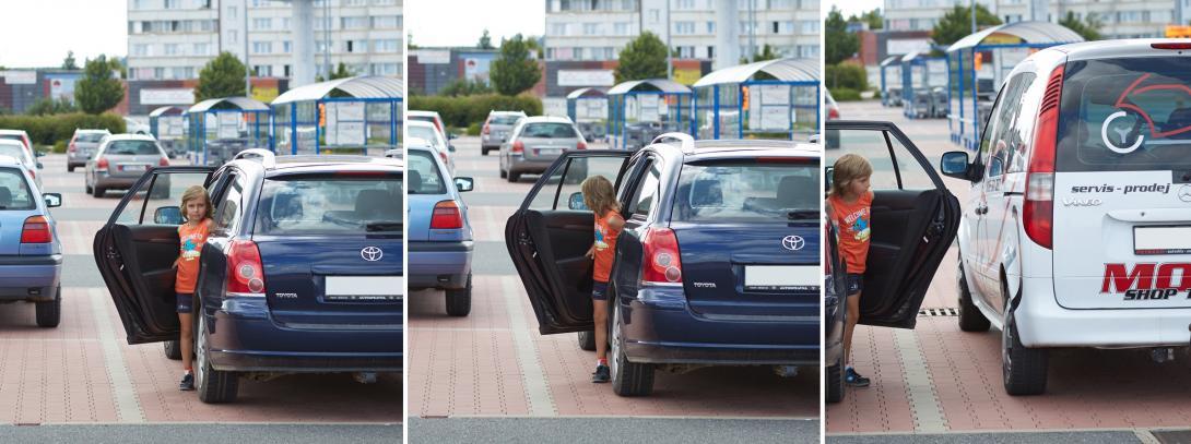 Nastupování a vystupování na parkovišti