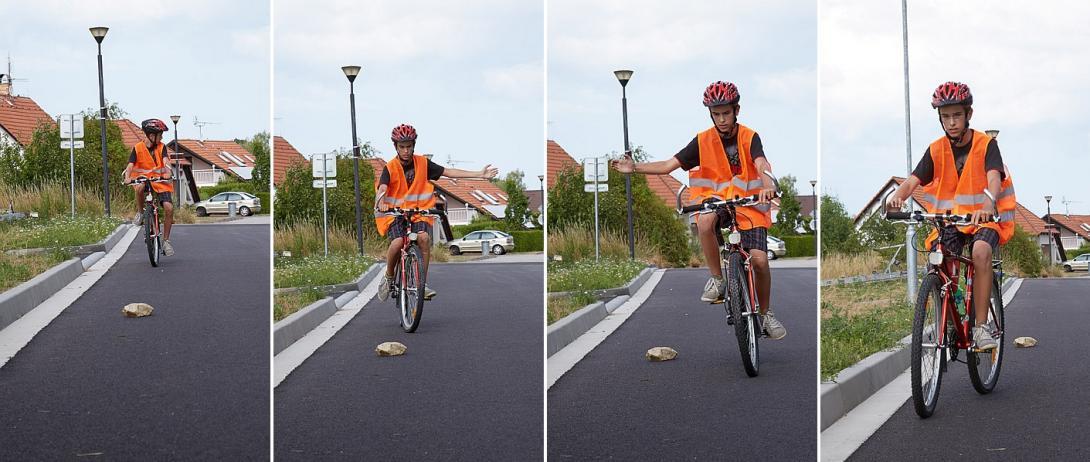 Objíždění překážky na kole