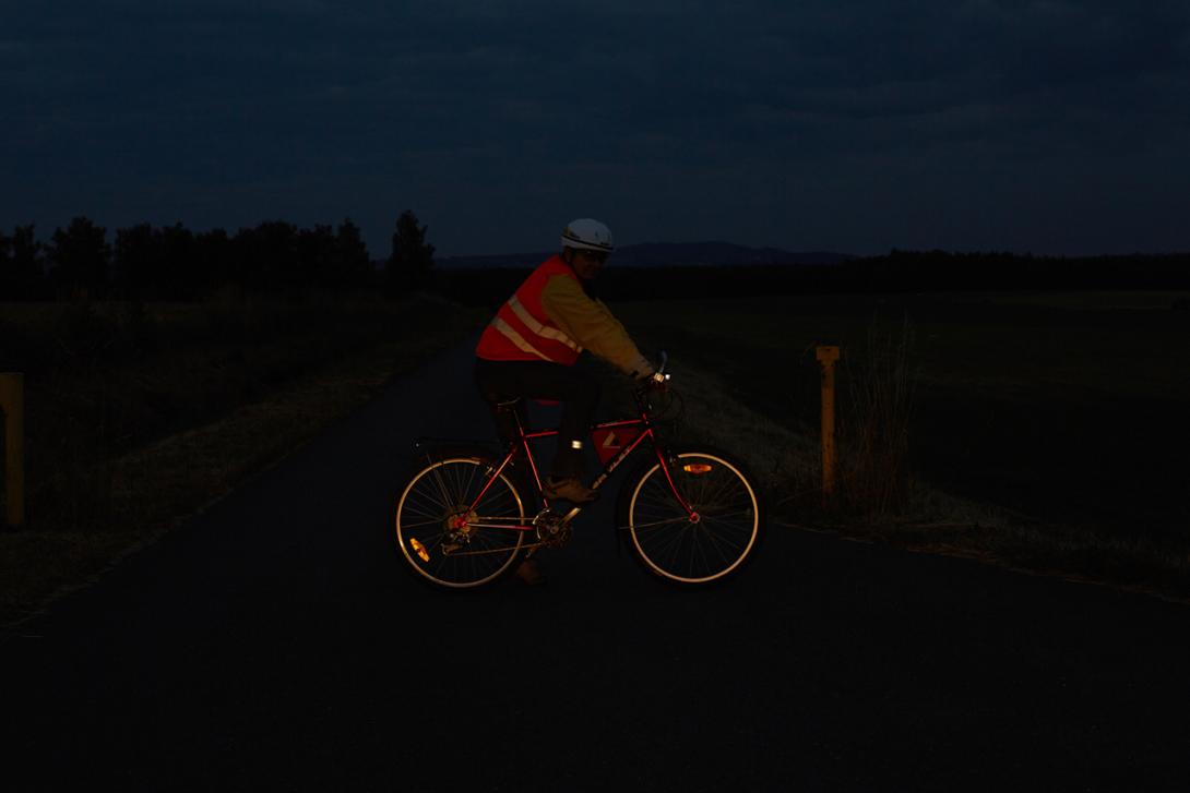 Správně: Viditelnost cyklisty z boku