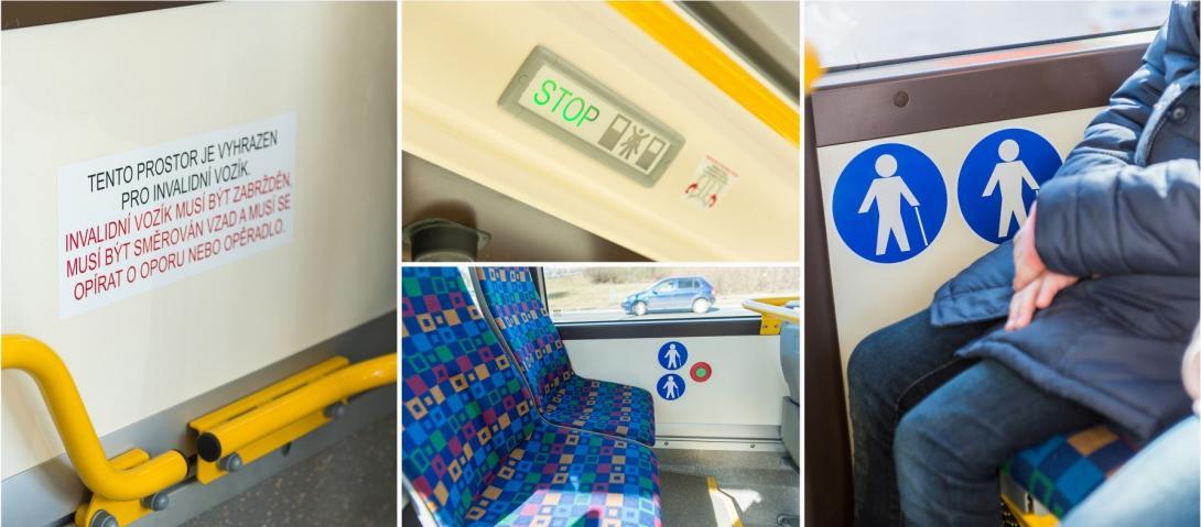 Ikony, upozornění a značky v autobusech
