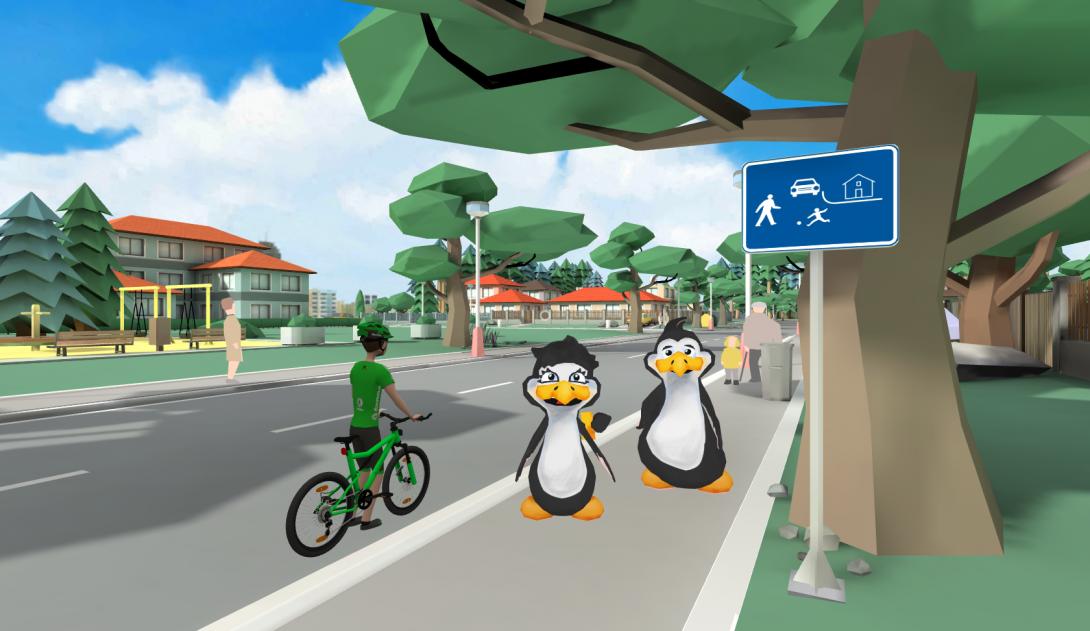 VR cyklista - ukázka z aplikace