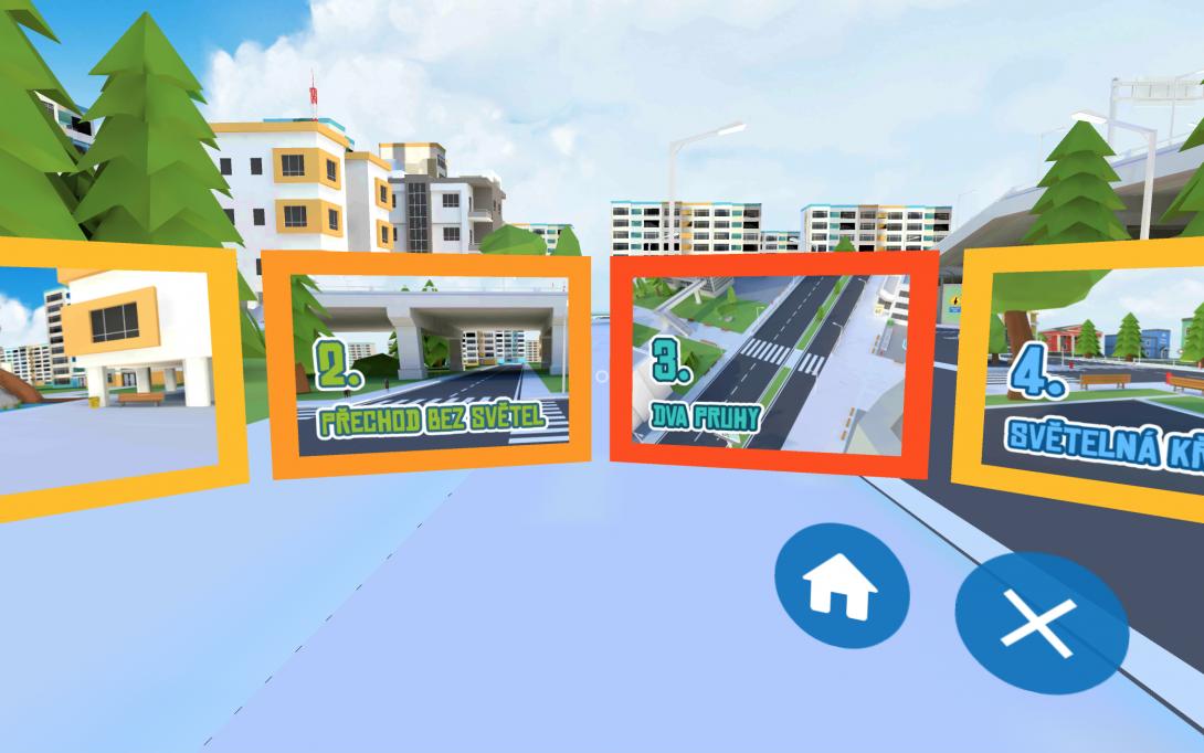 VR přecházení - menu aplikace