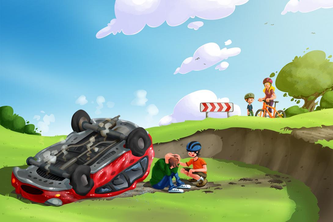 Po nehodě - ilustrace