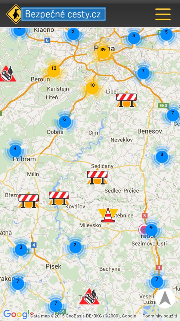 Dopravní info – mobilní aplikace - mapa