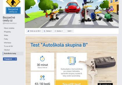 Testy autoškoly na Facebooku