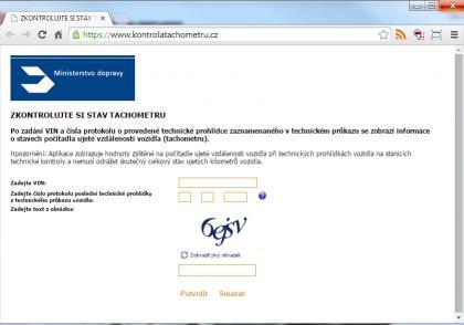 Kontrola tachometrů on-line