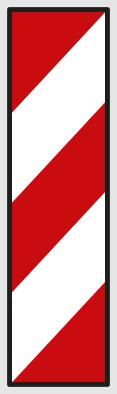 Směrovací deska se šikmými pruhy se sklonem vlevo