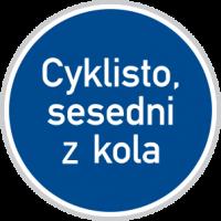 Vedení kola - značka Cyklisto, sesedni z kola
