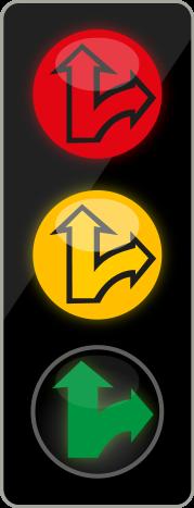 Tříbarevná soustava s kombinovanými směrovými signály