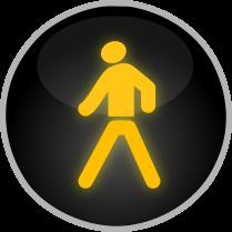 Signál žlutého světla ve tvaru chodce