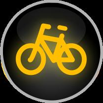 Signál žlutého světla ve tvaru cyklisty