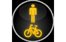 Signál žlutého světla ve tvaru chodce a cyklisty
