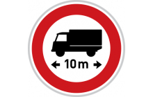 Zákaz vjezdu vozidel nebo souprav, jejichž délka přesahuje vyznačenou mez